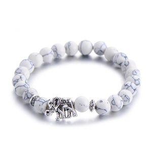 Natural stone lucky elephant charm bracelet